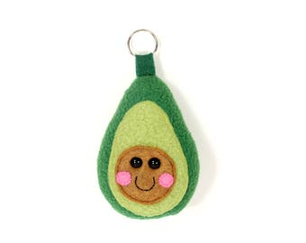 Avocado Keychain, Avocado Keyring, Cute Kawaii Avocado, Avocado bag charm accessory, Vegan Plush Toy, Avocado Ornament, Avocado Decoration