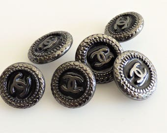 Chanel CC Black Enamel Metal Button 14mm 16mm / Price is for one button