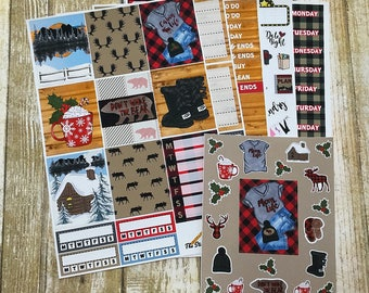 "Winter Planner Stickers / Winter ""Cabin Life"" Weekly Kit / Cozy Winter Kit / Buffalo Plaid Winter Stickers / Erin Condren Vertical Kit"