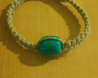 Handcrafted Turquoise Hemp Bracelet 7 1/2 in.