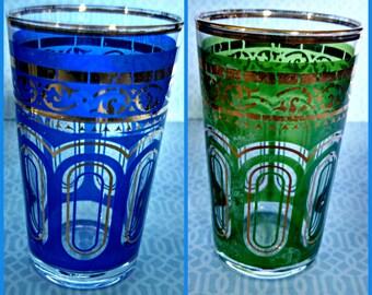 Vintage Cordials, Set of 5, Mid Century Modern Gilt Enameled Shot Glasses, Multicolor, Circa 1950s