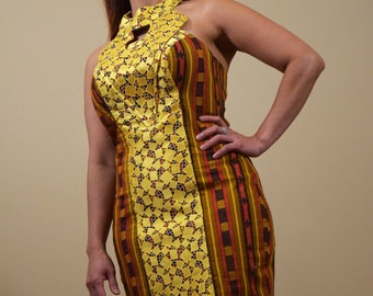 Gold Lace Halter Dress