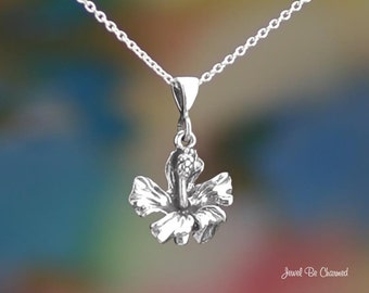 "Sterling Silver Hibiscus Necklace 16-24"" Chain or Pendant Only .925"