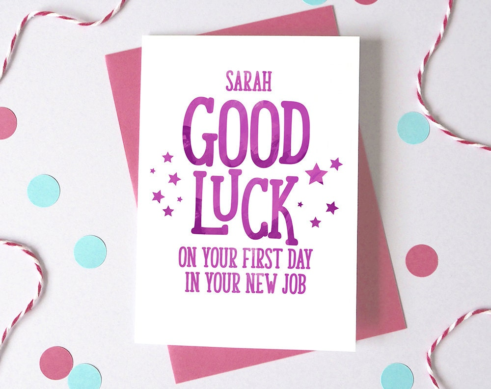 Good luck at new job personalised first day at work card zoom kristyandbryce Images