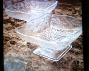 Vintage Pressed Glass Candy Dish Set (2)