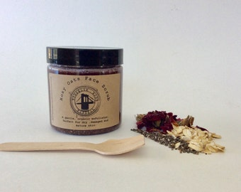 Rosy Oats Face Scrub - Oatmeal Face Scrub - Cleansing Grains - Rose Face Scrub - Chia Face Scrub - Exfoliating Scrub - Gentle Scrub Organic