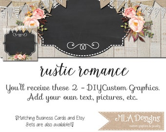 Facebook Timeline Set - Rustic Romance - Customize for your Facebook Business or Personal Page, DIY, Facebook Template, Rustic Facebook Set