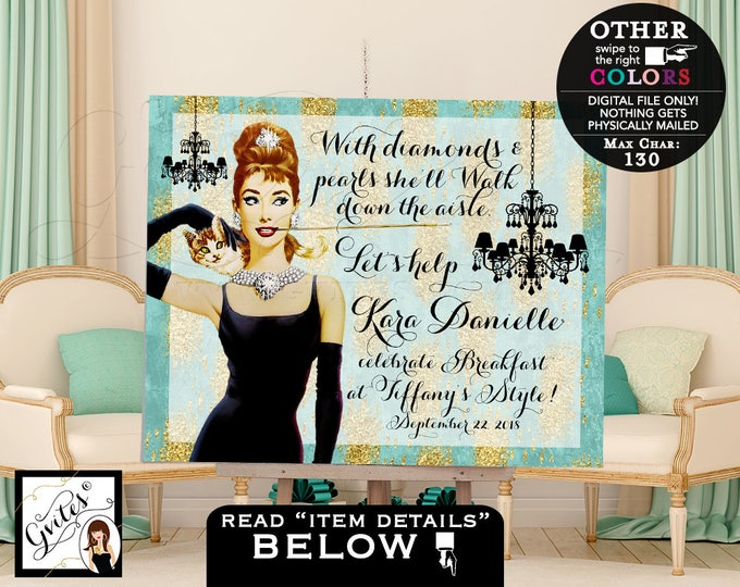 Breakfast at Party Sign, Bridal shower Table backdrop decor, welcome poster sign, Audrey Hepburn, turquoise and gold, PRINTABLE.
