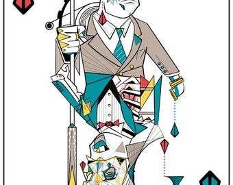 Splicer/Andrew Ryan Bioshock Inspired Playing Card Design Print