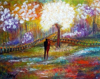 SPRING ROMANCE Original Painting on Canvas Springtime Flowers Landscape Lilacs in Bloom Painting by Luiza Vizoli