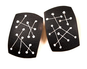 Black and White Retro 1950 Atomic Age Modernist Earrings