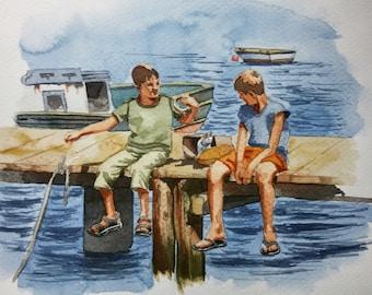 Original Watercolor Painting, Original Watercolor Artwork, Watercolor Seascape, Fishermen Watercolor, Perfect Gift