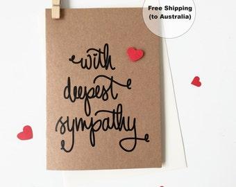With Deepest Sympathy Greeting Card – Heart Deepest Sympathy Greeting Card – Condolences Greeting Card – Sympathy card
