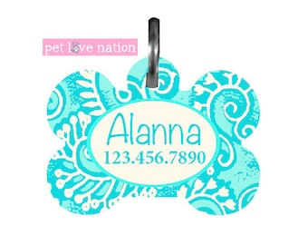 Personalized Pet Tag, Dog Tag, ID Tag, Aqua Blue Hawaiian Pet Tag With Name And Phone Number, Identification Tag