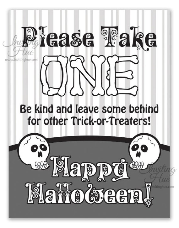 Printable Sign For Halloween Candy Bowl For Trickortreaters