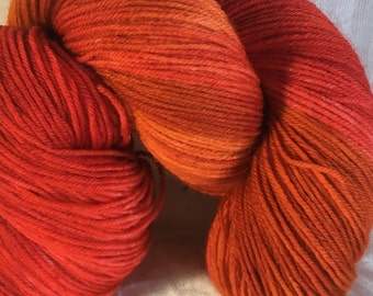 Burnt Orange, orange Hand Dyed 4ply Sock Wool/Nylon Yarn