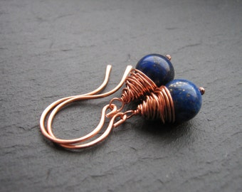 Lapis Lazuli Earrings - Copper Wire Wrapped Earrings, Lapis Earrings, Copper Earrings, Handmade Gift Jewellery