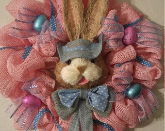 Easter Bunny Poly Burlap Wreath with Easter eggs Pink & Blue TOO CUTE!