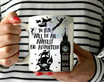 Watercolor silhouette Peter Pan flying : To live will be an awfully big adventure- Mug