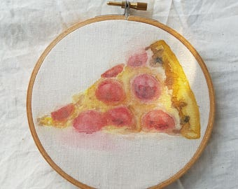 Pizza Slice Watercolor - Painting on Cotton, Watercolour, Pepperoni, Art, Fine Art, Food,