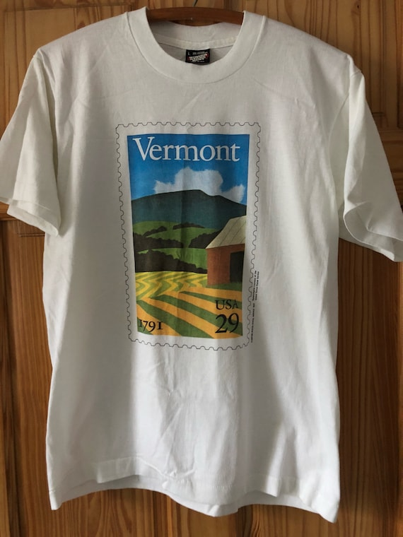1991 Vermont state US Postal Service stamp t-shirt