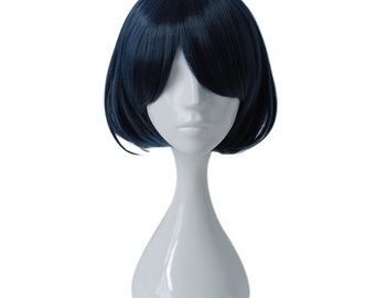 SINoALICE Alice Dark Blue Thick Bangs Short Straight Hair Anime Games Cosplay Wig Free Cap