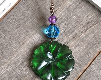 Gemstone Flower Pendant Green Quartz Carved Flower Necklace Blue Faceted Crystal Hand Wrapped