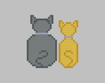 We're Ignoring You Kitties Easy Cross Stitch Pattern PDF Digital Download