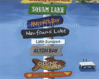 NH Signpost Poster, Lakes Region, Lake Winnipesaukee, Squam Lake, Newfound Lake, Ossipee Lake, Lake Sunapee, Wolfeboro 11x17 or 8x12 print