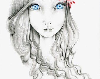 Big Eye Art Blue Eye Art Print of a Girl with Big Blue Eyes Gift for Her Girls Room Fashion Wall Art for Her Women in Art Drawing of a Girl
