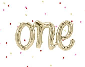 Letter Balloon- One Balloon- One Script Balloon- One Foil balloon- 1st Birthday decoration- 1st birthday balloon- Gold Balloon- Airfill