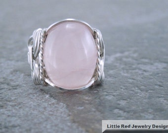 Sterling Silver Rose Quartz Wire Wrapped Ring