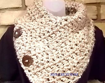 Boston Harbor Scarf with Three Coconut Buttons Scarf,Cowl,Neckwarmer,Accessories,Gift for Her