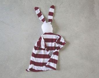 Bordeaux Lovey Blanket, Baby Blankie, Organic Lovey, stripes Security Blanket Baby Shower Gift
