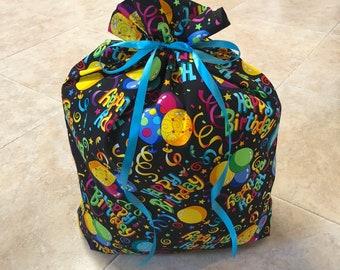 Birthday Gift Bag 16 x 21 - Reusable Eco-Friendly Cotton Fabric