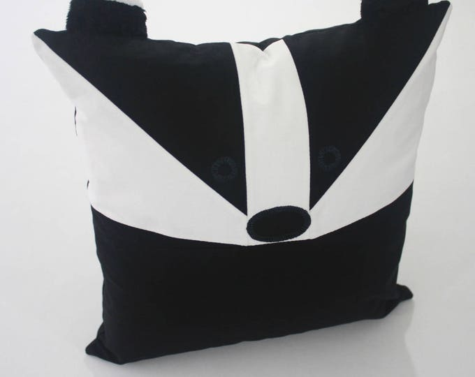 Badger Patchwork Pillow, Badger  Pillow, Badger Baby Pillow