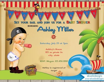Pirate Baby Shower Invitation - Ahoy It's a Boy! Vintage Pirate Baby shower invitation