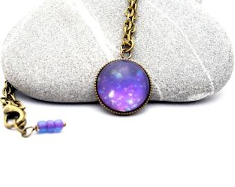Purple Cosmos - Celestial Space Jewelry - Purple Galaxy Matte Stone Necklace - Nail Polish Jewelry Style