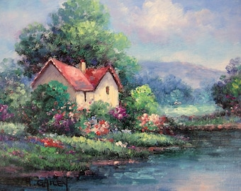 H. Gailey Original Oil on Canvas Painting House by Stream w/ Garden Unstretched