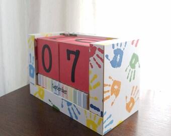 Perpetual Wooden Block Calendar, Elementary School Art Class Paint Handprints, Primary Colors, Teacher Gift, Calendar Blocks, Ready to Ship