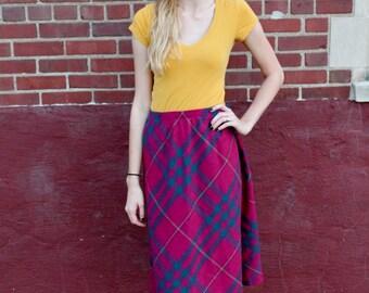 Colorful Plaid Skirt / Medium