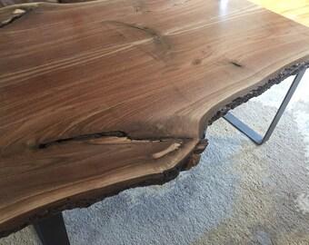 Rustic Walnut Live Edge Coffee Table Mid Century Modern Farmhouse Industrial Wood Slab Minimalist Steel Legs
