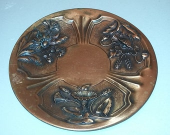 Large Art Deco copper platter dish with flowers 1930s