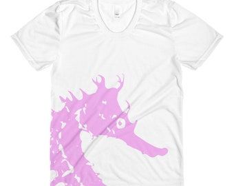 Pink Seahorse Women's Crew Neck T-shirt