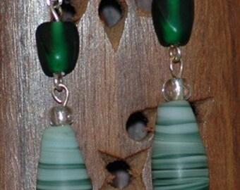 Green swirly matte finish earrings