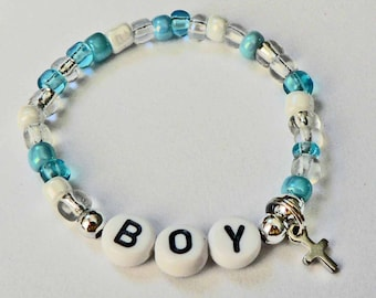 Baby Boy Baby Girl Bracelet Personalized Name Bracelet Cross Charm Infant Newborn Children Child Kid Sizes Vintage Retro Hospital Style