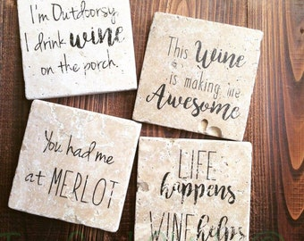 Wine Sayings - Tumbled Marble Coasters