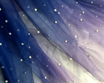 Deep Blue Pearl Decor Mesh Cloth Soft Gradient Ombre Net Fabric Wedding