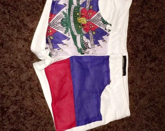 Haitian Flag contrast design jean short