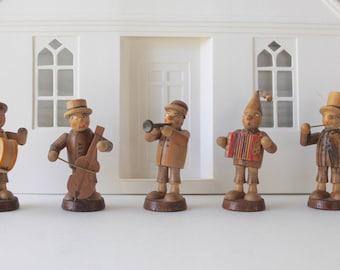 Vintage Small Wood Erzgebirge Band - 5 Figures, Vintage Hand Painted/Carved Wood Musician Figures, Erzgebirge Miniature Band